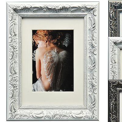 Bilderrahmen Holz Foto Rahmen Galerie Barock Antik Style Weiss Schwarz Grau #167
