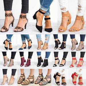Womens-Ladies-Slingback-Sandals-Mid-Block-Wedge-Heels-Buckle-Ankle-Strap-Shoes