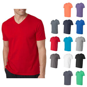 Mens gildan softstyle v neck t shirt plain cotton tee s for Gildan v neck t shirts for men