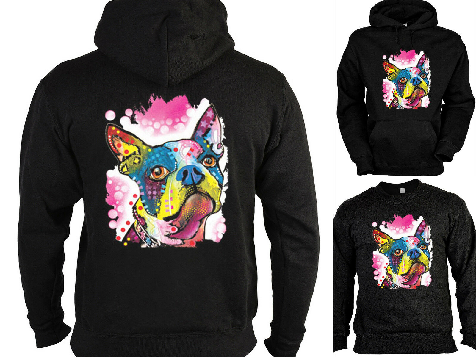 Boston Terrier Sweater - Kapuzensweater - Zip Hoodie Hunderassen Hunde Motiv