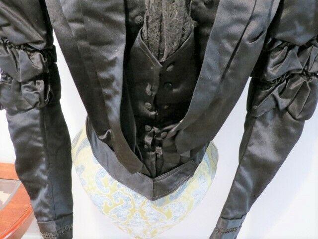 Antique 1880 - 1890's Black Silk Satin Bodice wit… - image 10