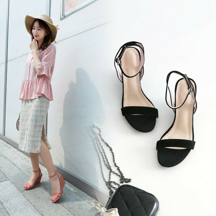 Summer Womens Ankle Strap Wedge Heels Open Toe Buckle Casual shoes Suede Sandals