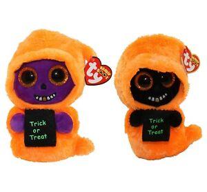 Set-of-2-TY-Beanie-Boos-Halloween-6-034-SKELTON-amp-GRINNER-Orange-Ghoul-Plush-MWMTs