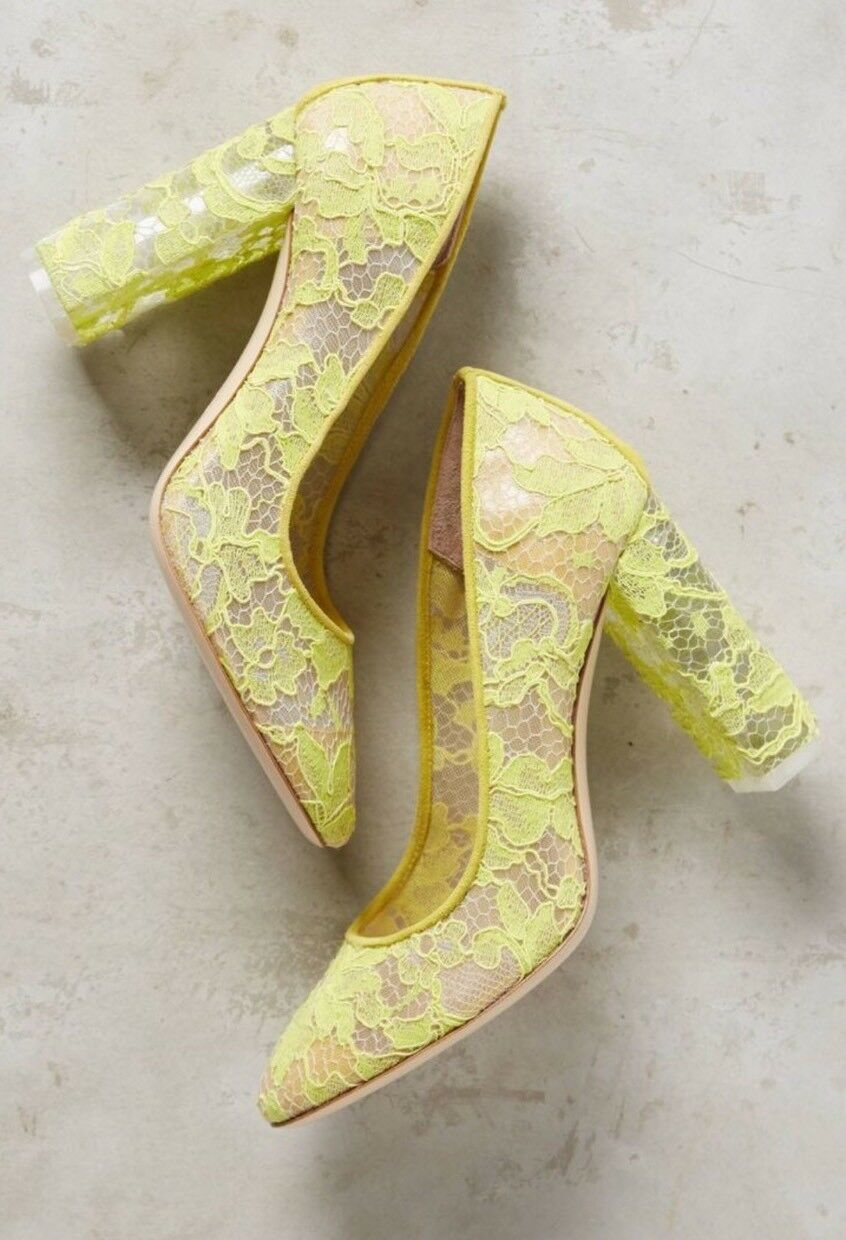 NEW Anthropologie Deimille Gelb Lace Heels Größe 36