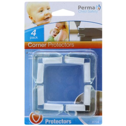 2x Perma Child Safety CORNER PROTECTORS 4Pcs Self Adhesive CLEAR Aust Brand