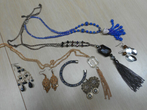 Lot 2 costume jewelry lot blue necklaces earrings… - image 1