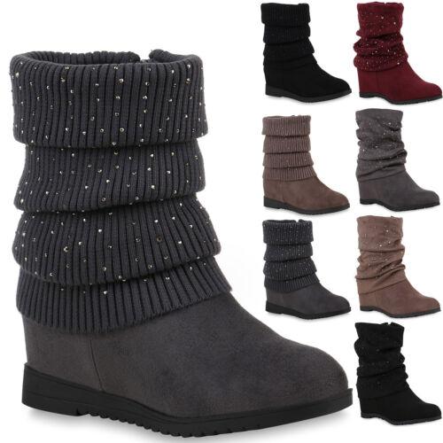 Modische Damen Keilstiefeletten Strass Stiefeletten 811821 Schuhe