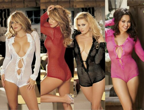 Details about  /Sexy Fishnet Long Sleeve Lace Collar Ribbon Tie Front Bodysuit One Size 96951