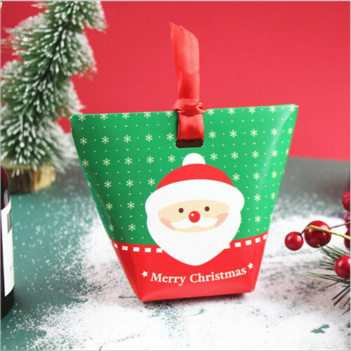 10-50x Christmas Party Favour Paper Boxes Sweets Biscuit Candy Gift Pack Bag Box