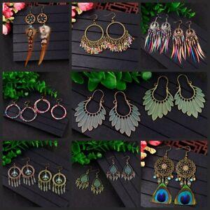 Hot-Vintage-Women-039-s-Bohemian-Style-Multicolor-Shape-Drop-Dangle-Feather-Earrings