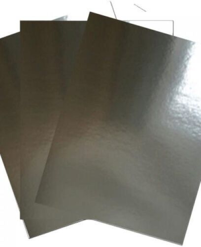 ; Metallic 260gsm Foil Shiny card A4 Silver X 20 sheets - 29.7cm x 21cm
