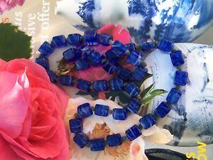 VINTAGE-ART-DECO-CZECH-BLUE-POURED-GLASS-CUBE-BEADS-NECKLACE