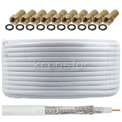 AB 50m Koaxialkabel 135dB REINES KUPFER Sat DIGITAL Antennen Kabel 4K UHD SKY
