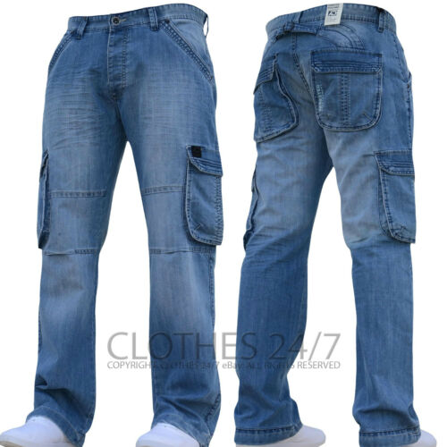 New Mens AD Designer Dark Cargo Combat Denim Jeans Pants All Waist /& Leg Sizes