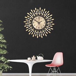 Round Wall Clock Metal Art Style Sunburst Diamonds Bedroom Living Room Clocks Uk Ebay
