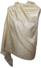 Light Gold Women's Paisley Glitter Shimmery Tonal Scarf Shawl Wrap Pashmina _PSK