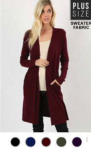 NEW-Plus-Size-Open-Front-Long-Duster-Cardigan-Sweater-w-Side-Pockets-XL-1X-2X-3X