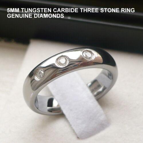 Para Mujer De 5 Mm De Carburo De Tungsteno Anillo anillo de tres Piedra Diamantes Talle 4-9.5 Para Hombre