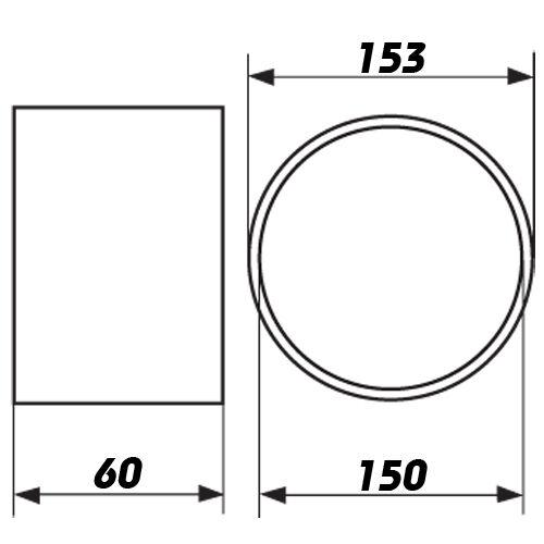 Verbindungsstück für Formstücke Rundrohr Lüftungsrohr Abluft dalap Ø150mm 3133