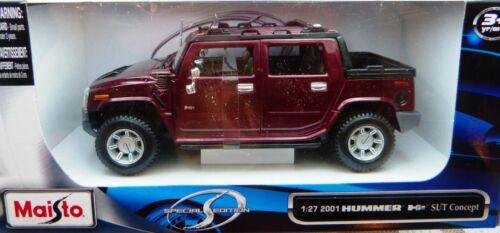 in 1:27 Neu /& OVP Maisto 2001 Hummer H2 SUT Concept  Pick Up rot met