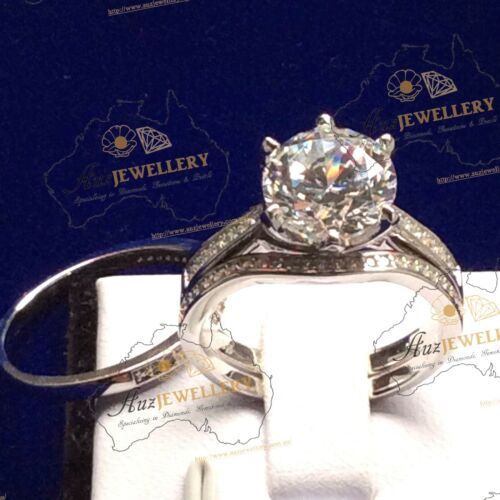 Bridal Set Simulated Diamond Real 925 Silver Engagement Wedding Ring, women