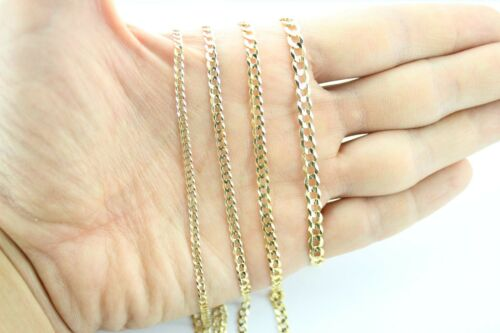 """10K Solid Yellow Gold Cuban Chain Necklace Bracelet Anklet 2.5mm ~ 5mm 7/""""~ 36/"""""""