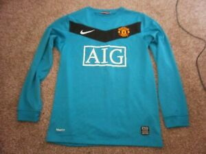 new concept ae93d f3f32 Details about MANCHESTER UNITED Man VAN DER SAR goalkeeper football kit  shirt top age 10-11-12