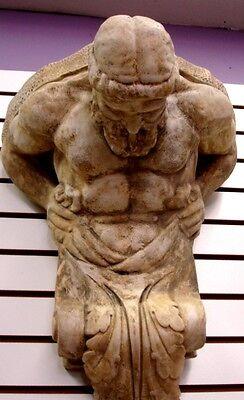 "Huge 22"" Vintage Atlas Wall Sculpture Bracket Antique Finish Rare"