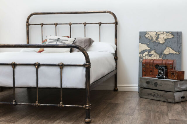 Rustic Antiqued Victorian Hospital Style Metal Bed Frame 3FT Single Size