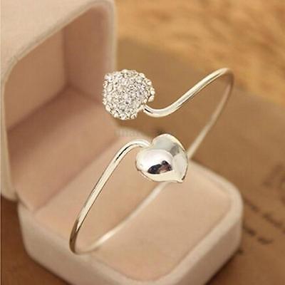 Elegant Women Rhinestone Crystal Love Heart Silver Bangle Cuff Bracelet Jewelry