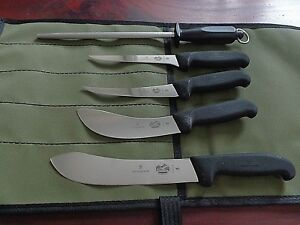 VICTORINOX-6-PCE-DELUXE-BUTCHER-SKINNER-KNIFE-SET-AUSSIE-CANVAS-WRAP-SWISS-MADE