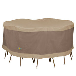 Duck-Covers-Elegant-Round-Durable-Water-Resistant-Patio-Table-amp-Chair-Set-Cover