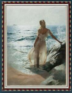 Hand-painted-Oil-painting-art-Original-Impressionism-girl-beach-on-Canvas-24x36-034