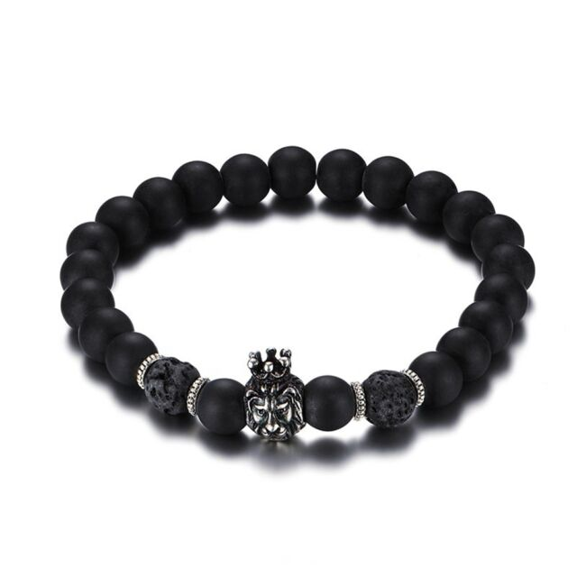 Men Bracelet Alloy Lava Stone Black Beaded Bangle Crown Lion Head