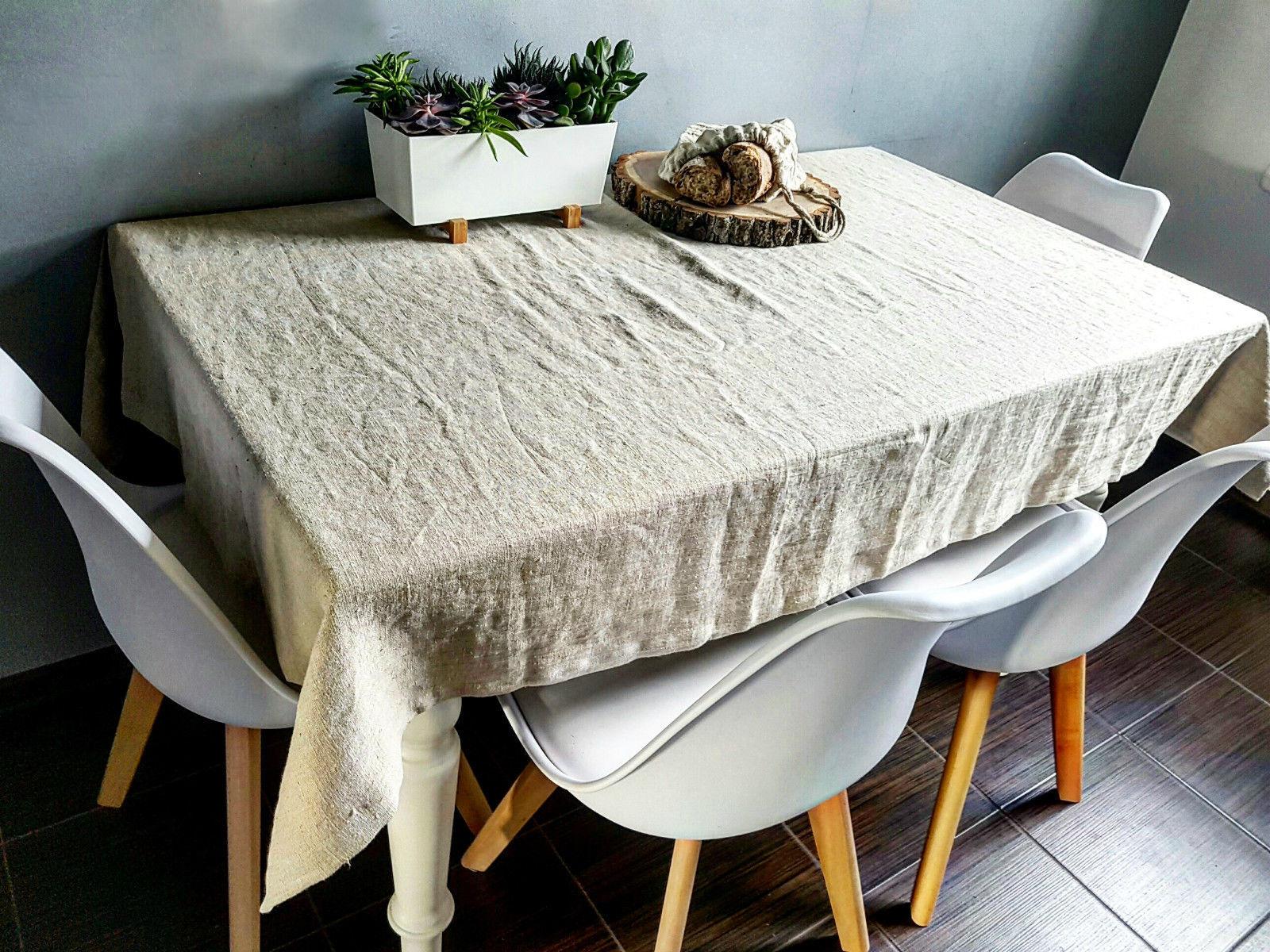 Rustic linen tablecloth, vintage linen tablecloth, stonewashed farmhouse linen