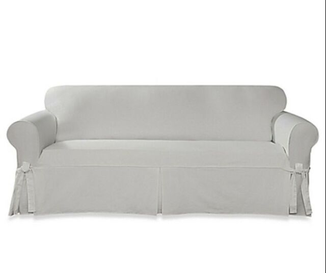 Designer Twill Sofa Slipcover in White 1PC Box Style Seat Cushion Sure Fit