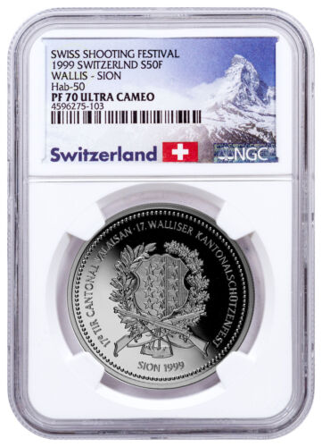 1999 Switzerland Shooting Festival Thaler Sion Silver 50F NGC PF70 UC SKU48973