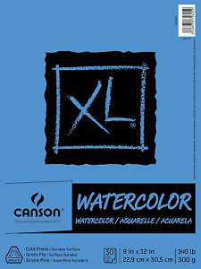 """Canson XL Series Watercolor Pad 9/"""" x 12/"""" Fold-over cover 30 Sheet textured"""