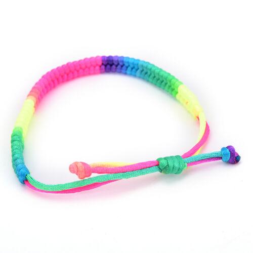 5x double couche rouge arc-en-ciel ficelle tressé corde hommes femmes bracele~PL