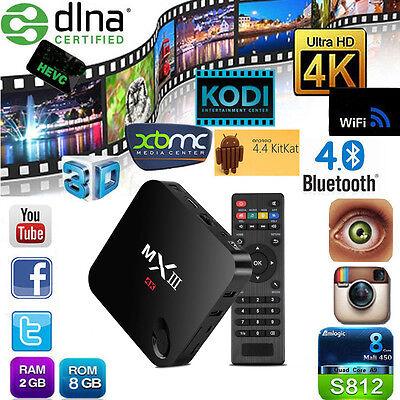 MXIII MX3 S812 Quad Core 2G+8G Android TV Box Media Streamer H.264 4K XBMC