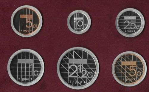 NETHERLANDS 1999 and 2001 BU Proof Sets 5 Cents to 5 Gulden B2