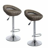 Wicker Rattan Bar Stools Set 2x Breakfast Tall Swivel Adjustable Kitchen Chairs