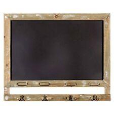 Blackboard Chalkboard Wall Mounting Black Board Memo Reminder Wooden Frame Hooks