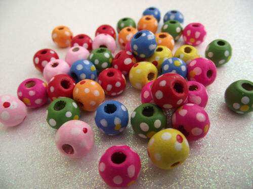 WITH DOT FLOWER 10x9mm round 40 WOOD SPACER BEADS CHILDRENS MULTICOLOUR PAINTED