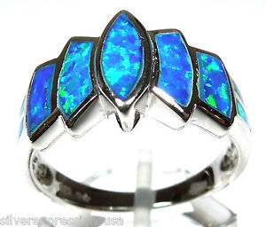 High-Quality-Blue-Fire-Opal-Inlay-Solid-925-Sterling-Silver-Ring-Size-6-7-8-9