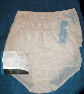 3 Pair Dixie Belle White Nylon Size 12 Scalloped Leg Panty Style 719 USA Made