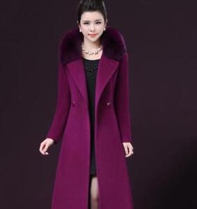 Trenchcoat Warm Parka Jacket Collar Fur Kvinders Overcoat Outwear Tykk Uld OHSSXw