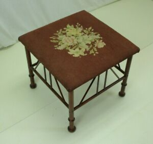 19th Century Square Bamboo Footstool with Floral Needlepoint