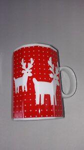 Santa-039-s-Reindeer-Red-12-Sided-Mug-VTG-Mikasa-Fine-China-Christmas-Holidays-BOGO