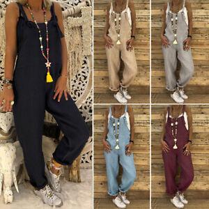Mode Femme Sans Manche Ample Loisir Jumpsuits Ladies 100% coton Pants Pantalons